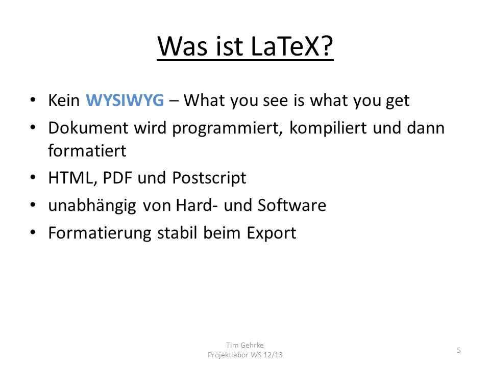 Tim Gehrke Projektlabor WS 12/13