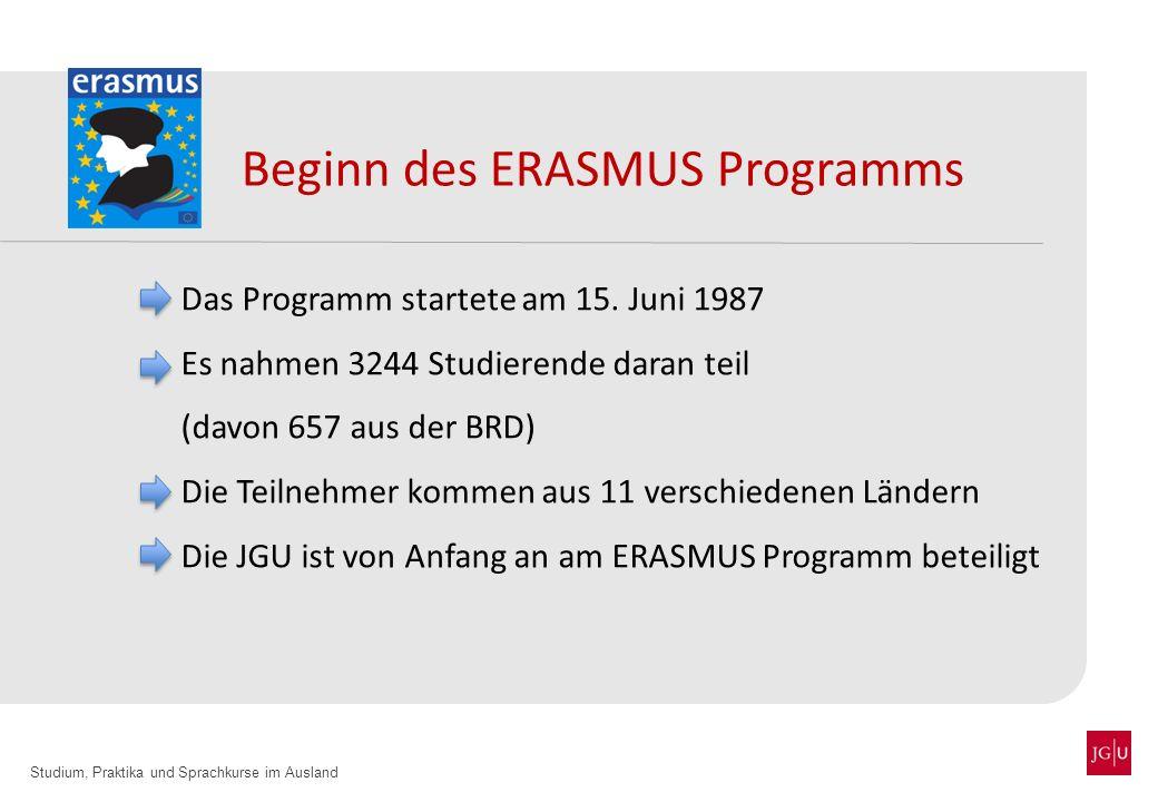Beginn des ERASMUS Programms