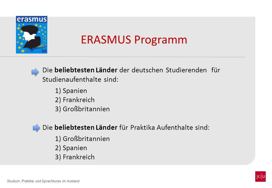 ERASMUS Programm Die beliebtesten Länder der deutschen Studierenden für Studienaufenthalte sind: 1) Spanien.