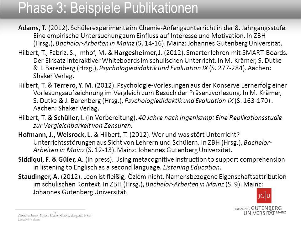 Phase 3: Beispiele Publikationen