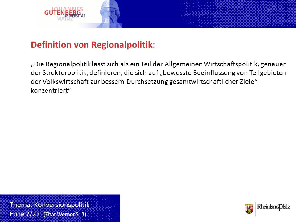 Definition von Regionalpolitik: