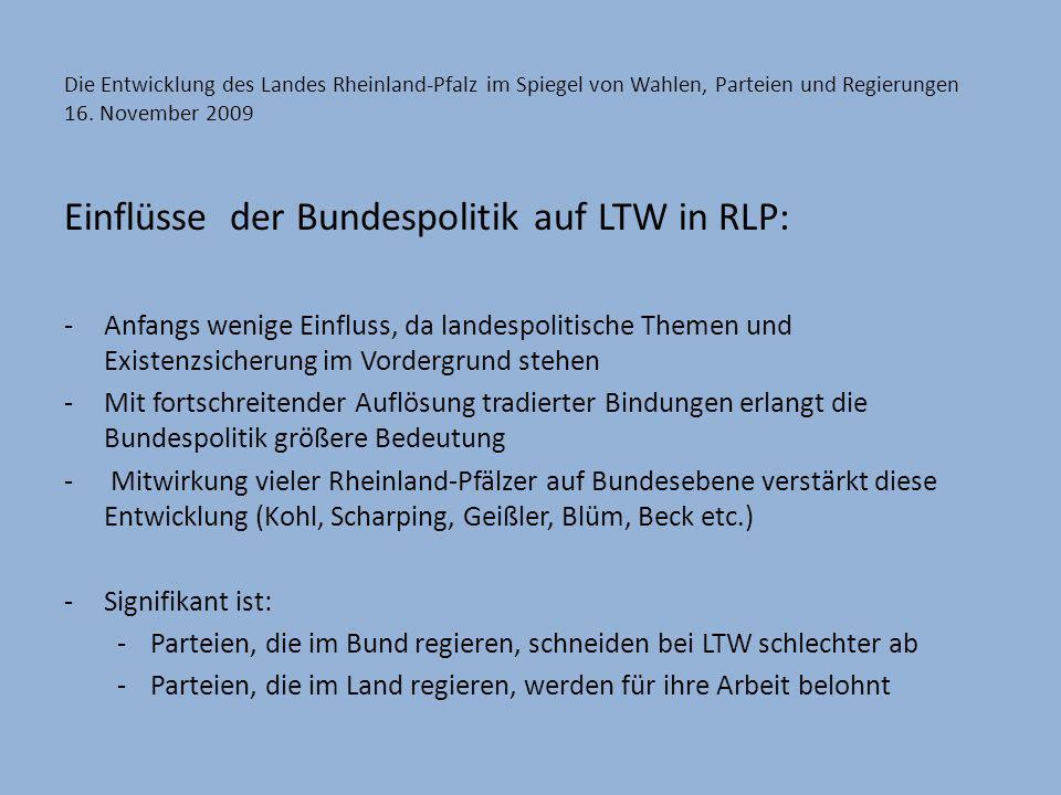 Einflüsse der Bundespolitik auf LTW in RLP: