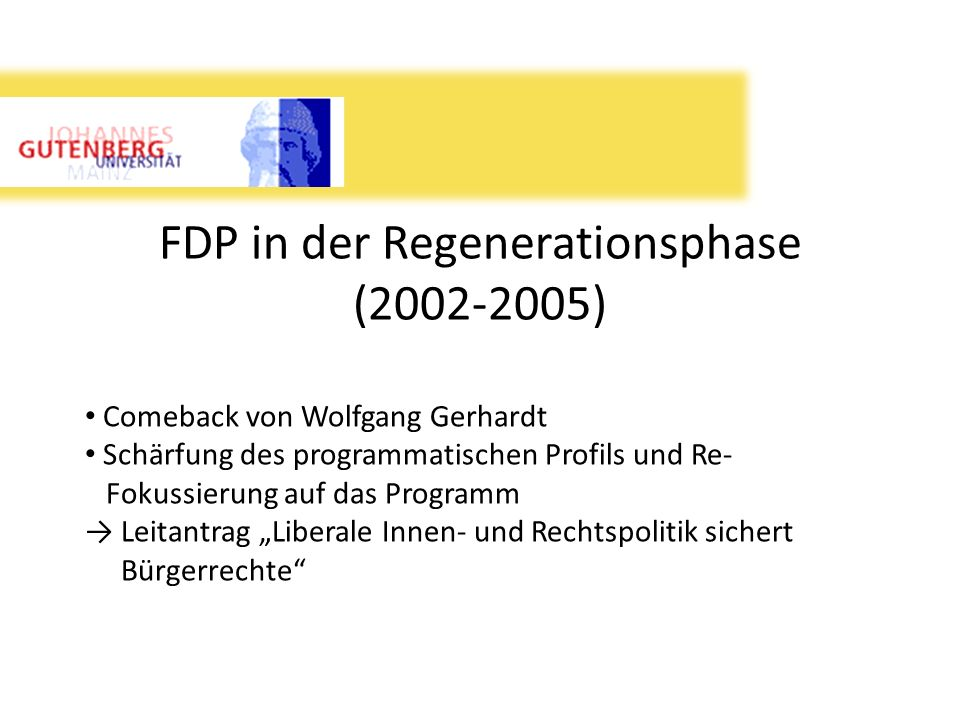 FDP in der Regenerationsphase (2002-2005)