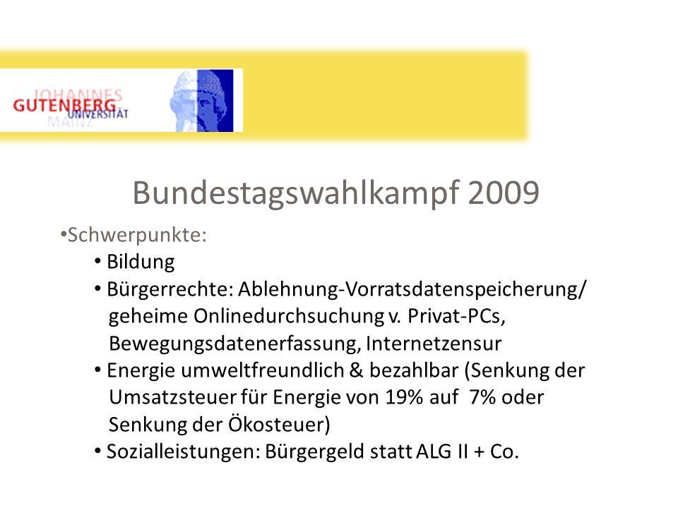 Bundestagswahlkampf 2009 Schwerpunkte: Bildung