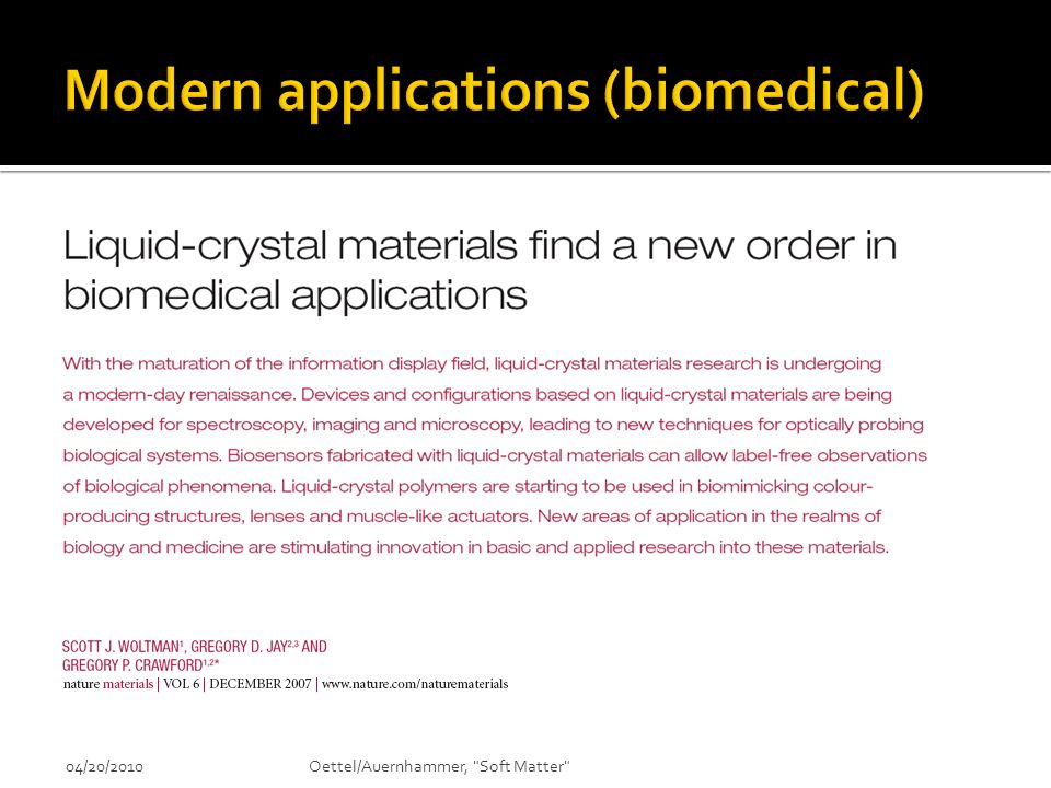 Modern applications (biomedical)