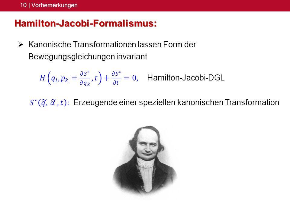 Hamilton-Jacobi-Formalismus: