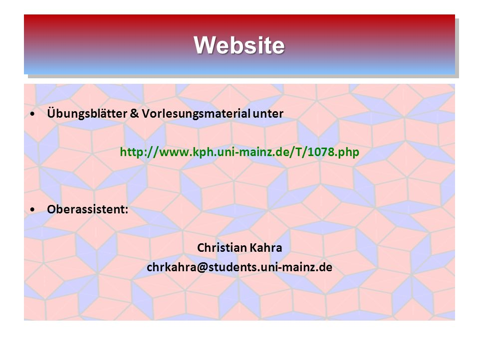 Website Übungsblätter & Vorlesungsmaterial unter