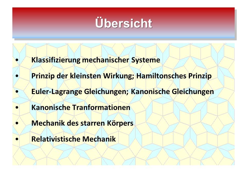 Übersicht Klassifizierung mechanischer Systeme