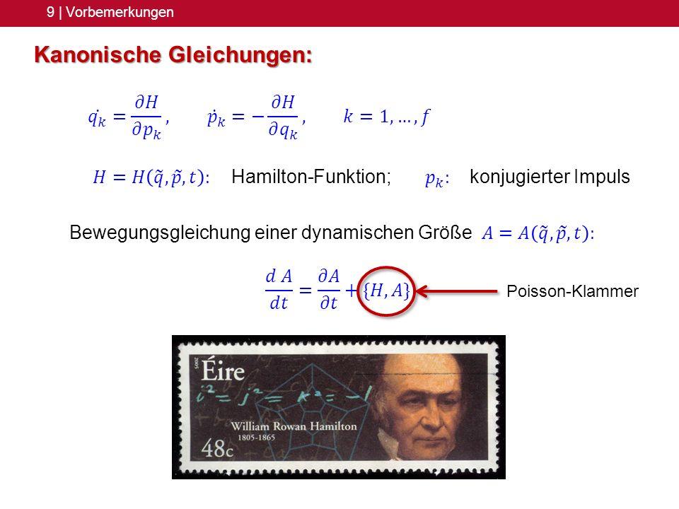 Kanonische Gleichungen: