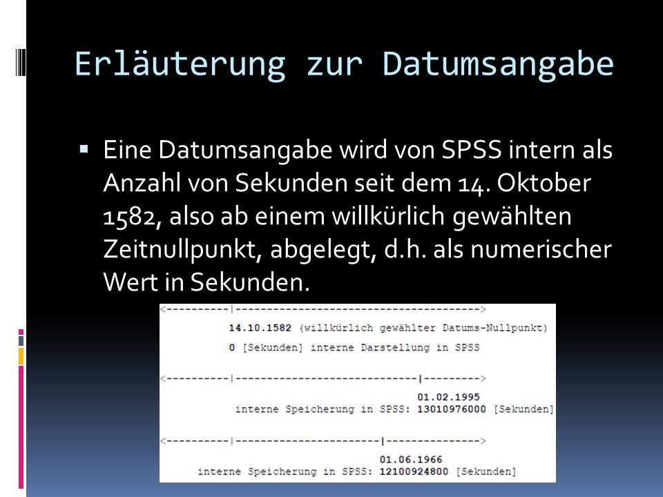 Erläuterung zur Datumsangabe
