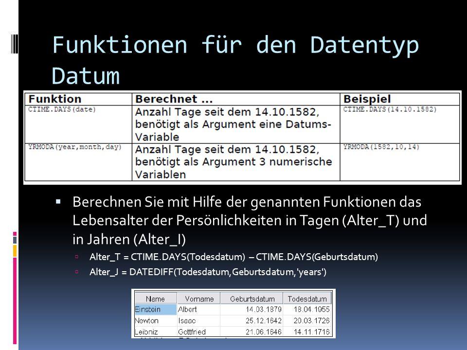 Funktionen für den Datentyp Datum