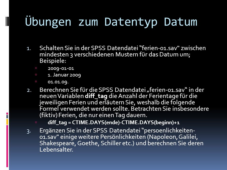 Übungen zum Datentyp Datum