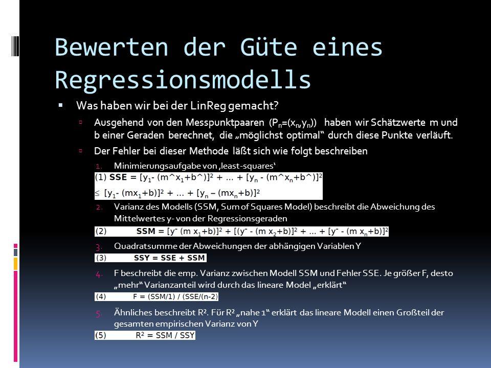 Bewerten der Güte eines Regressionsmodells