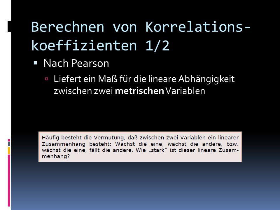 Berechnen von Korrelations-koeffizienten 1/2