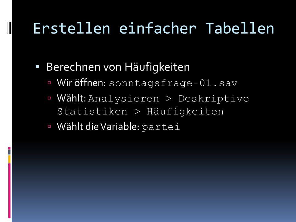 Erstellen einfacher Tabellen