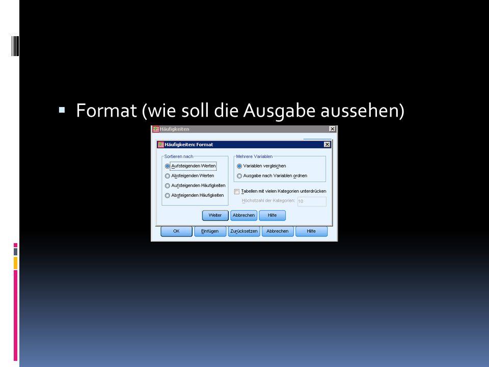 Format (wie soll die Ausgabe aussehen)