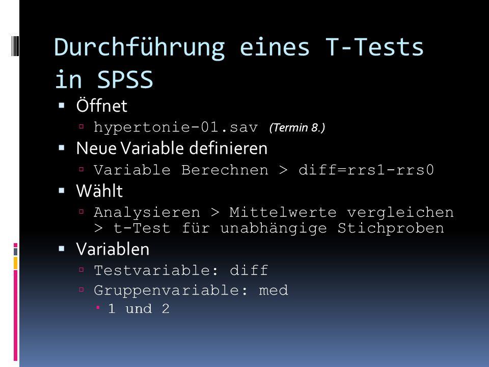 Durchführung eines T-Tests in SPSS