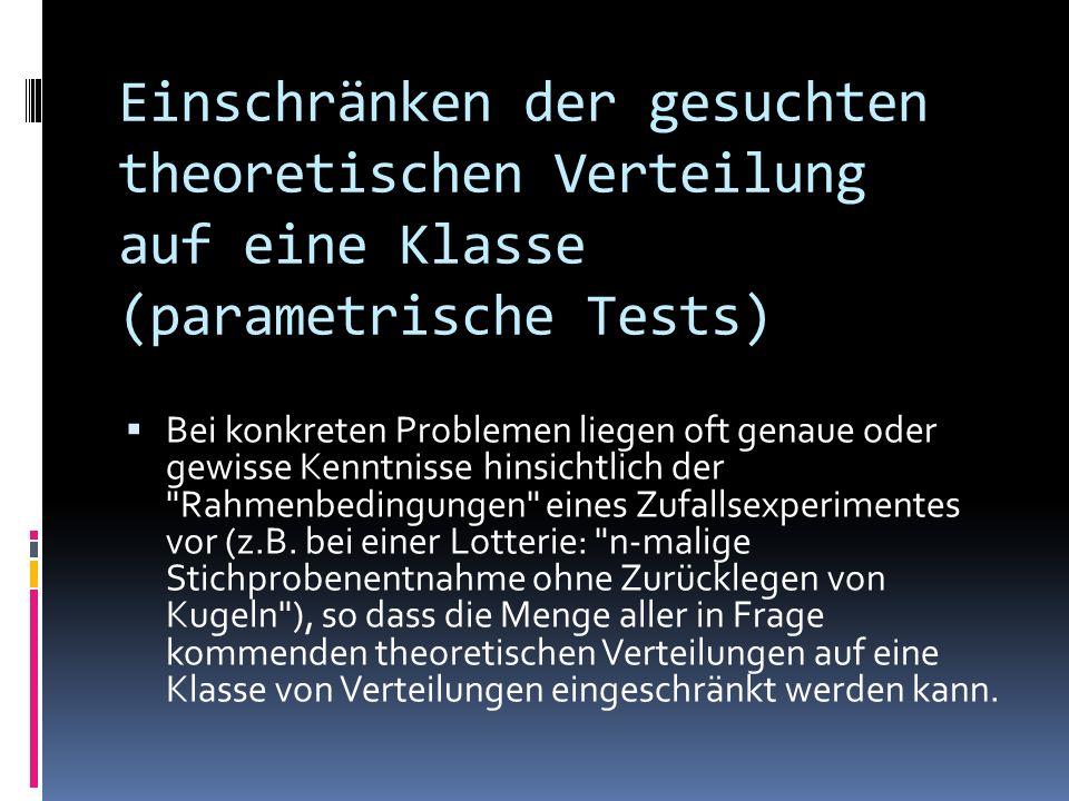 Einschränken der gesuchten theoretischen Verteilung auf eine Klasse (parametrische Tests)