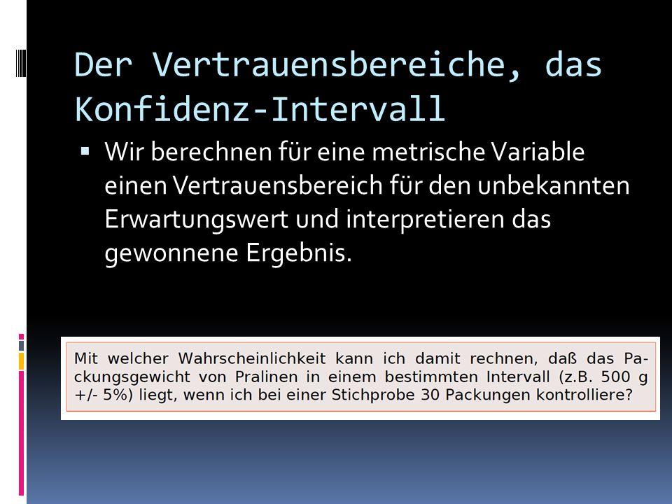 Der Vertrauensbereiche, das Konfidenz-Intervall