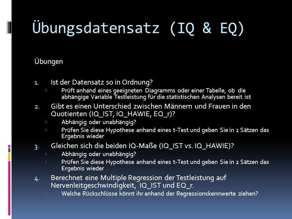 Übungsdatensatz (IQ & EQ)