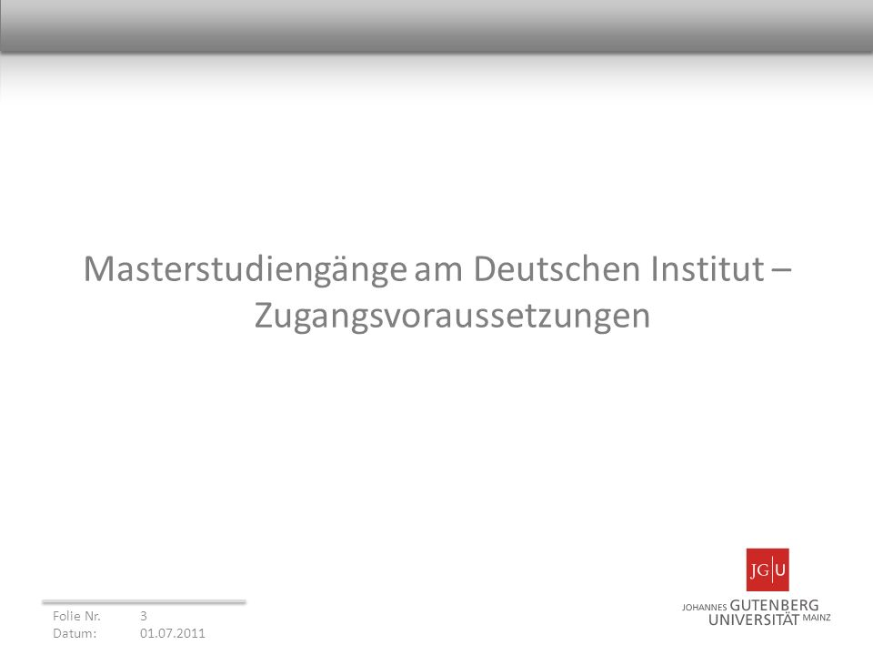 Masterstudiengänge am Deutschen Institut –Zugangsvoraussetzungen