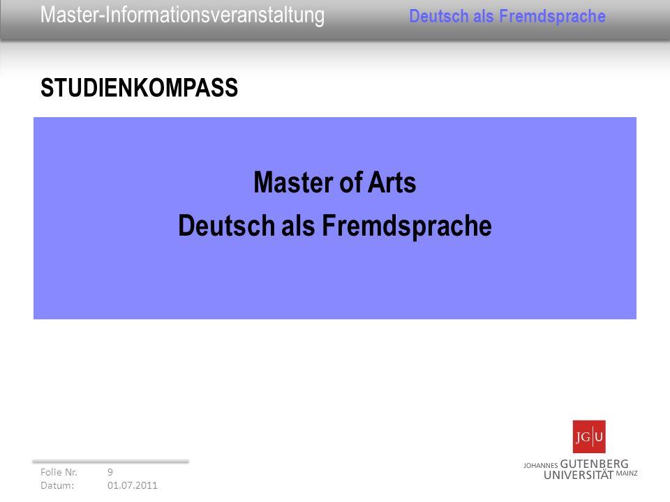 Master-Informationsveranstaltung Deutsch als Fremdsprache