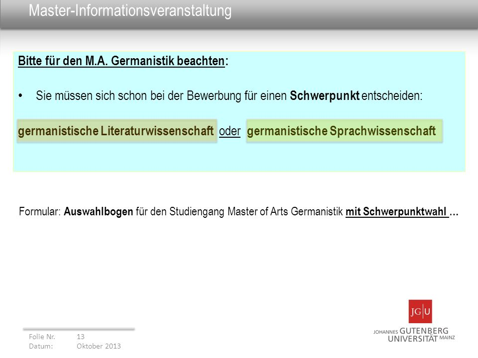 Master-Informationsveranstaltung