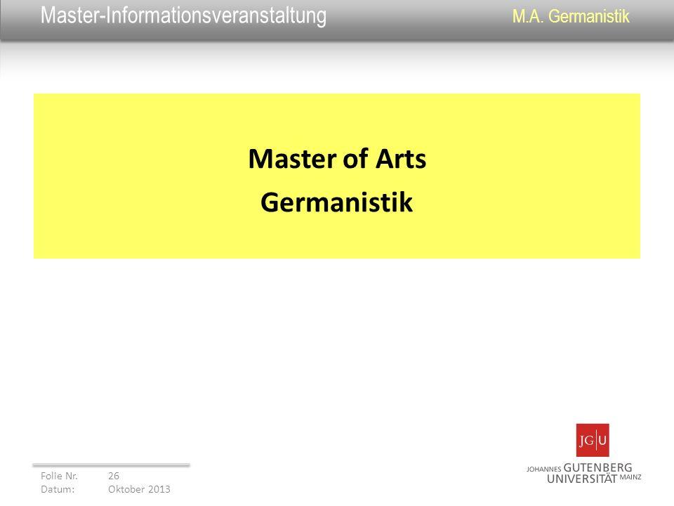 Master-Informationsveranstaltung M.A. Germanistik