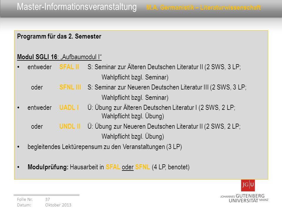 Master-Informationsveranstaltung. M. A