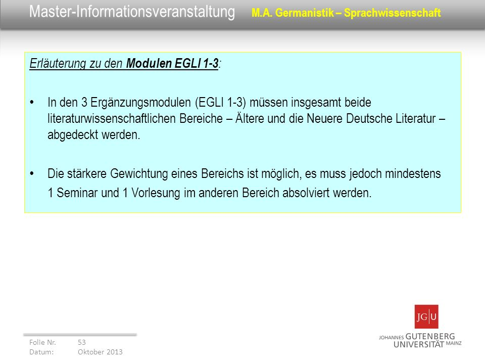 Master-Informationsveranstaltung M.A. Germanistik – Sprachwissenschaft
