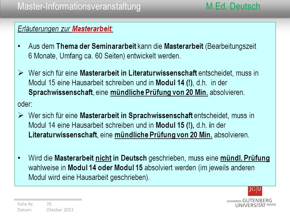 Master-Informationsveranstaltung M.Ed. Deutsch