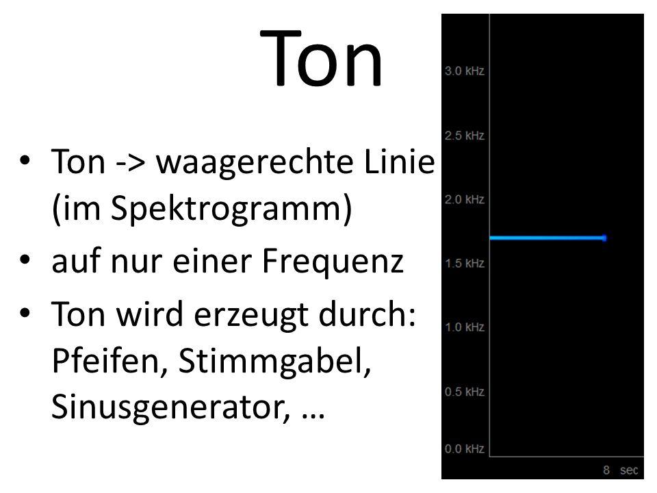 Ton Ton -> waagerechte Linie (im Spektrogramm)