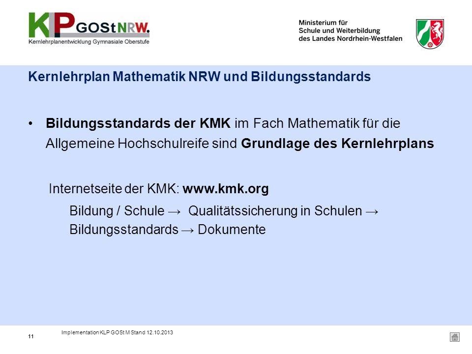 Kernlehrplan Mathematik NRW und Bildungsstandards