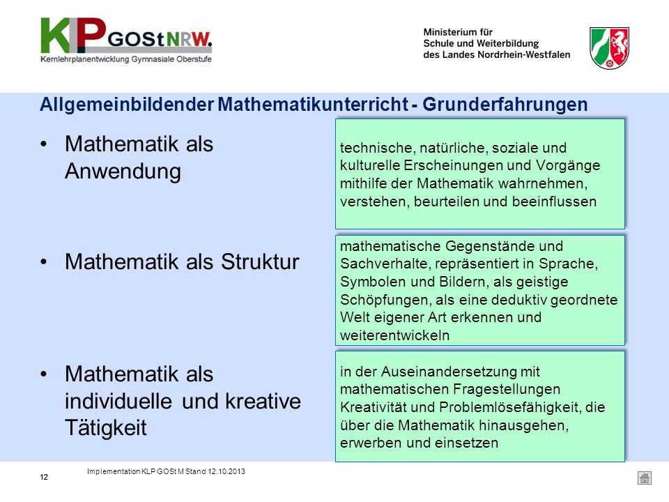Allgemeinbildender Mathematikunterricht - Grunderfahrungen