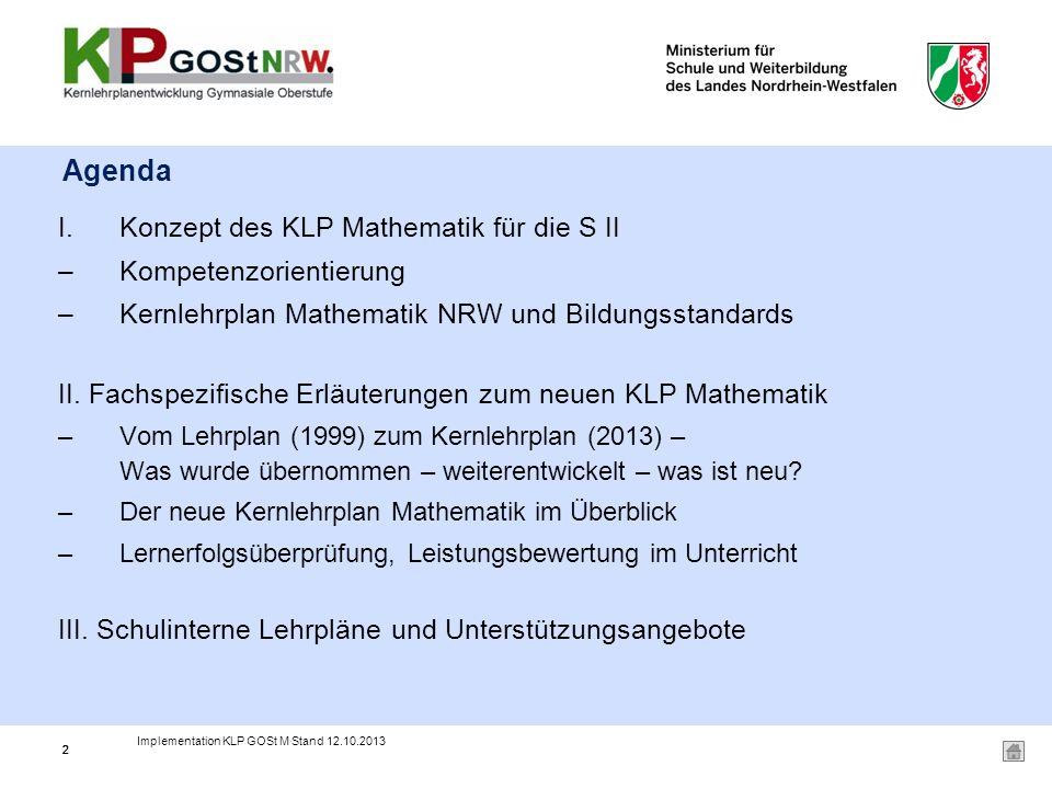 Agenda Konzept des KLP Mathematik für die S II Kompetenzorientierung