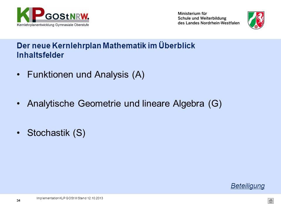 Der neue Kernlehrplan Mathematik im Überblick Inhaltsfelder