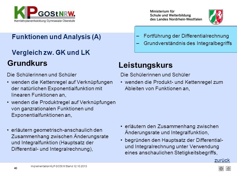 Funktionen und Analysis (A) Vergleich zw. GK und LK