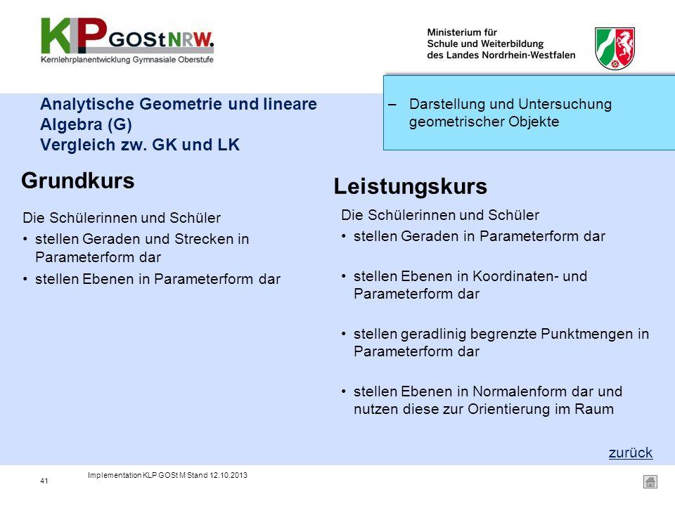 Analytische Geometrie und lineare Algebra (G) Vergleich zw. GK und LK