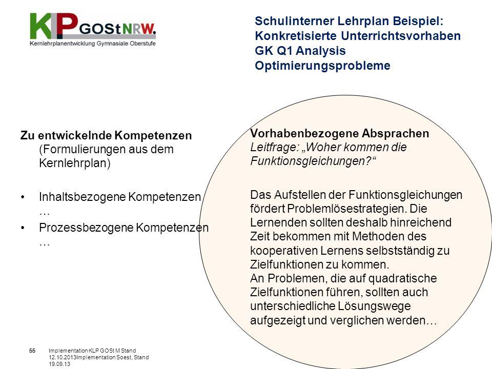 Schulinterner Lehrplan Beispiel: Konkretisierte Unterrichtsvorhaben GK Q1 Analysis Optimierungsprobleme