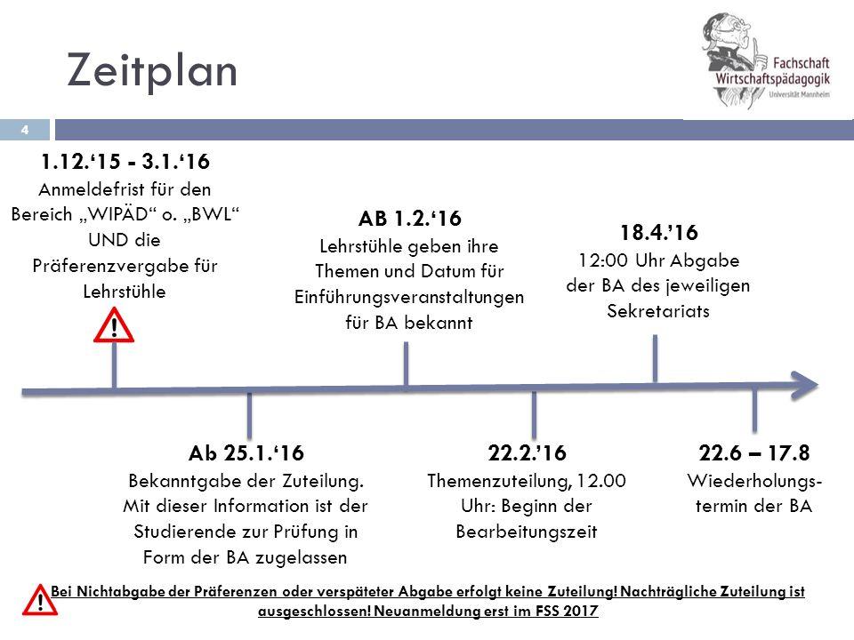 """Zeitplan 1.12.'15 - 3.1.'16. Anmeldefrist für den Bereich """"WIPÄD o. """"BWL UND die Präferenzvergabe für Lehrstühle."""