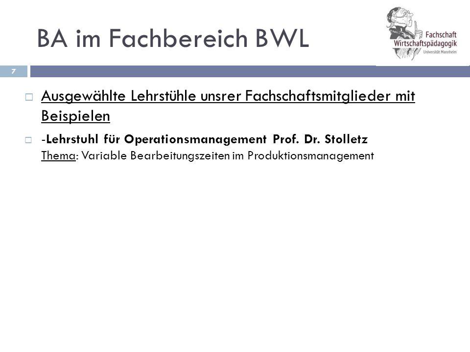 BA im Fachbereich BWL Ausgewählte Lehrstühle unsrer Fachschaftsmitglieder mit Beispielen.
