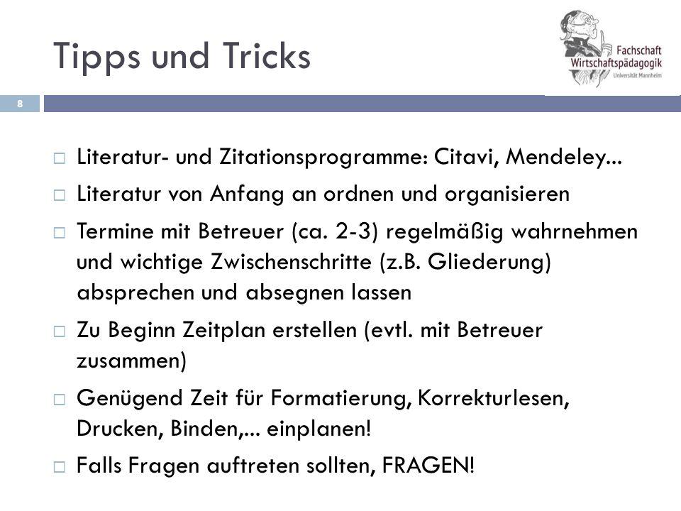 Tipps und Tricks Literatur- und Zitationsprogramme: Citavi, Mendeley... Literatur von Anfang an ordnen und organisieren.
