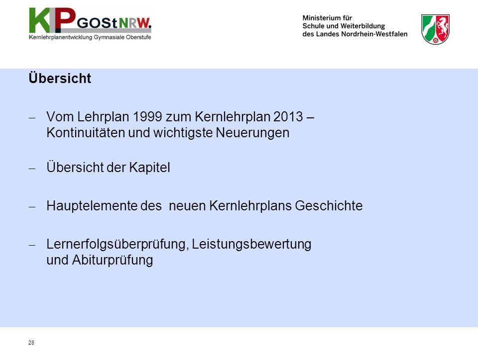 Übersicht Vom Lehrplan 1999 zum Kernlehrplan 2013 – Kontinuitäten und wichtigste Neuerungen. Übersicht der Kapitel.