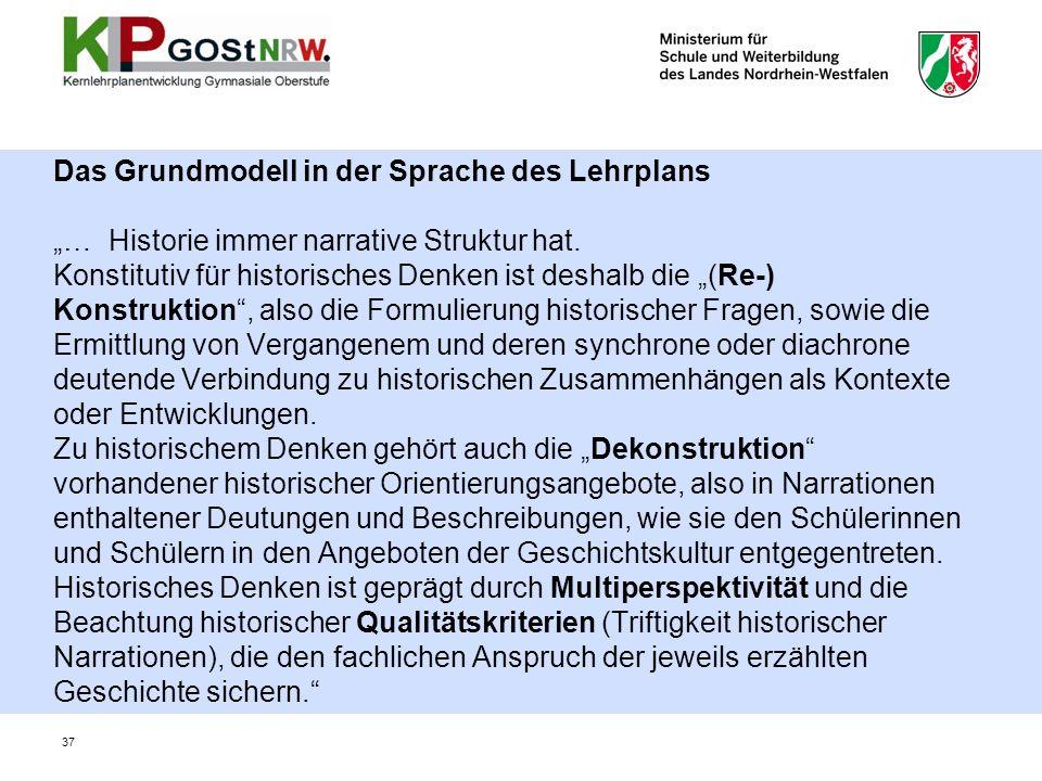 """Das Grundmodell in der Sprache des Lehrplans """"… Historie immer narrative Struktur hat."""