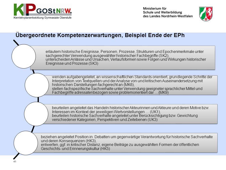 Übergeordnete Kompetenzerwartungen, Beispiel Ende der EPh