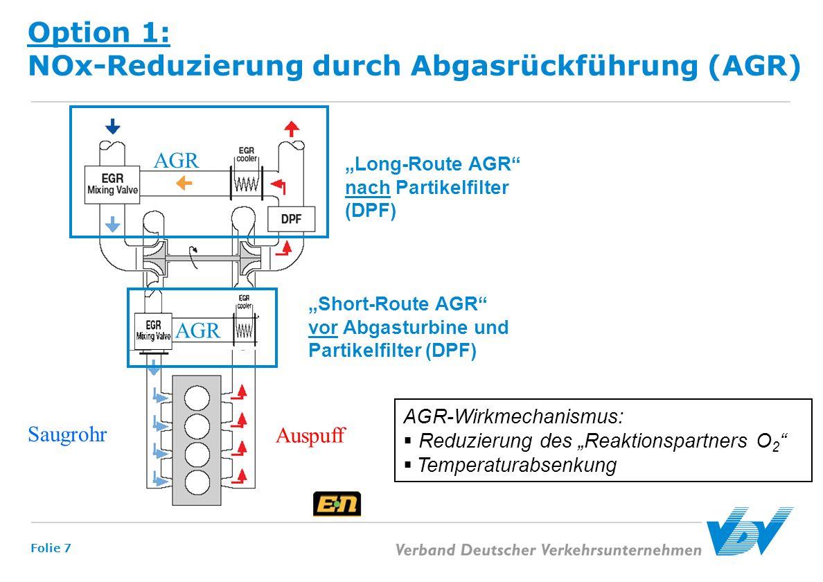Option 1: NOx-Reduzierung durch Abgasrückführung (AGR)