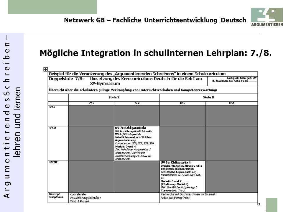 Mögliche Integration in schulinternen Lehrplan: 7./8.