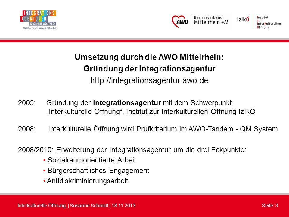 Umsetzung durch die AWO Mittelrhein: Gründung der Integrationsagentur