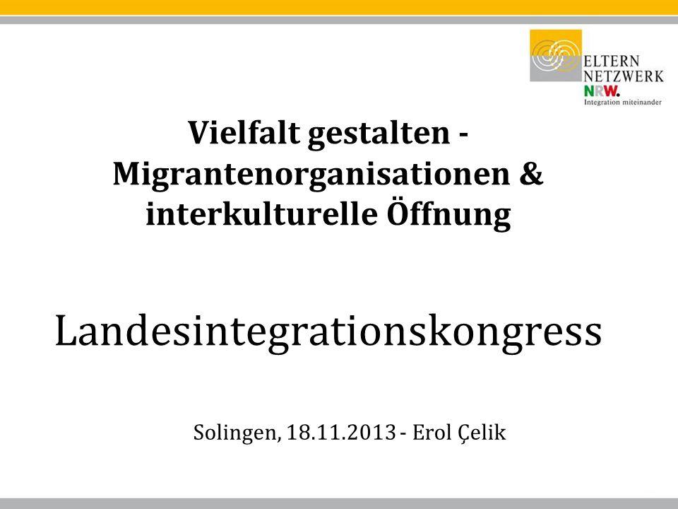 Vielfalt gestalten - Migrantenorganisationen & interkulturelle Öffnung Landesintegrationskongress