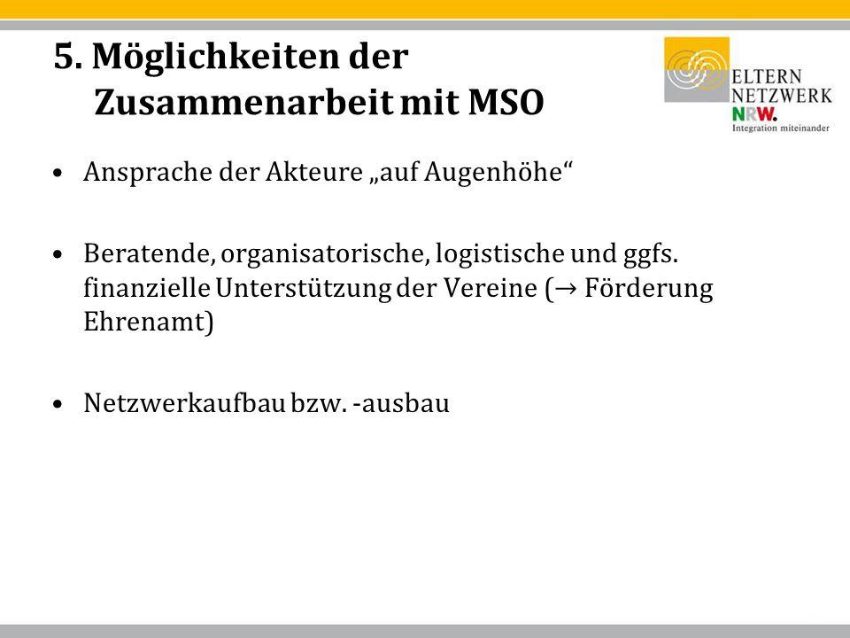 5. Möglichkeiten der Zusammenarbeit mit MSO